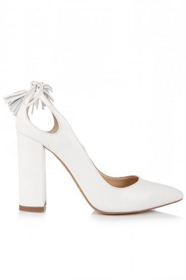 Pantofi albi cu toc gros