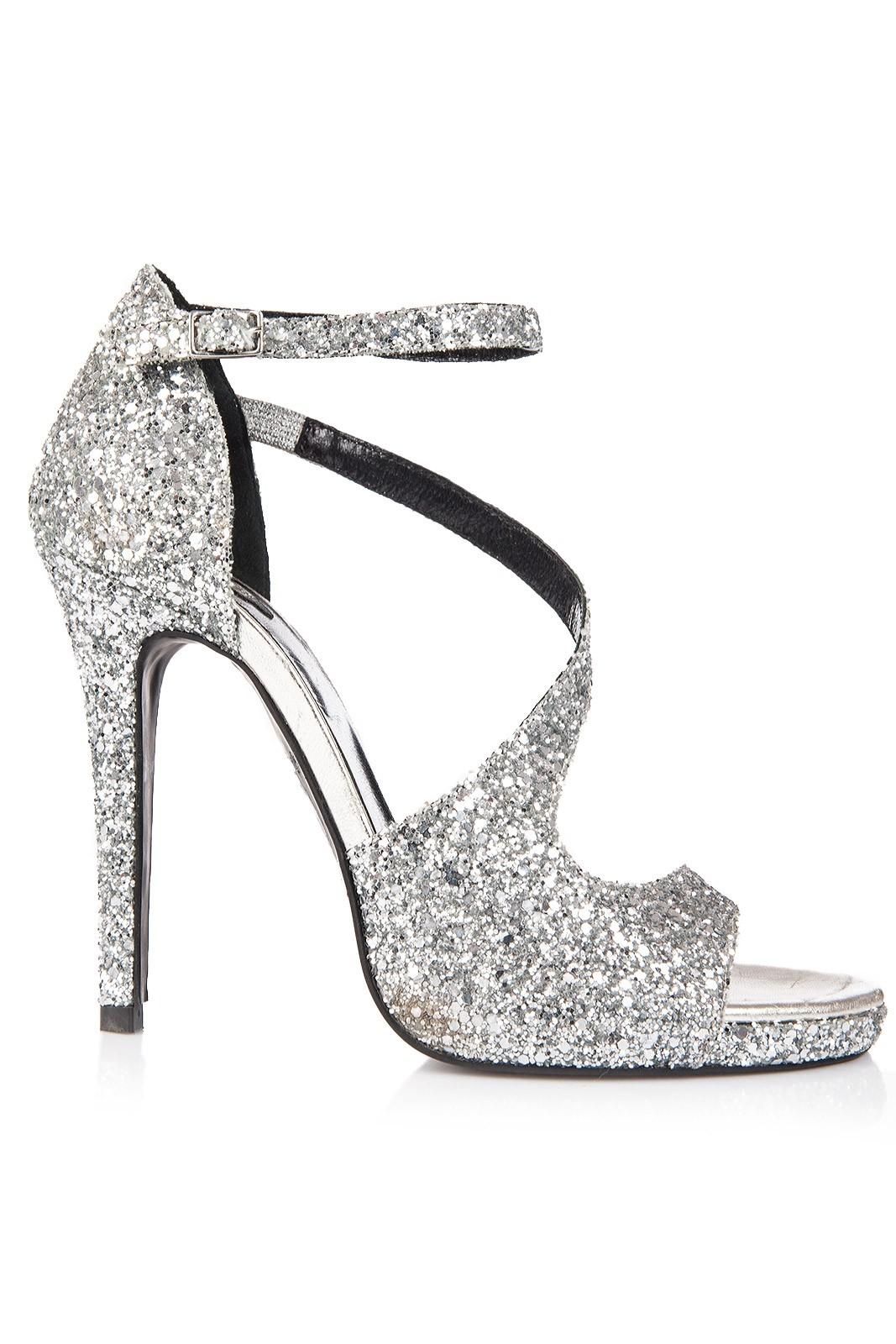 prima rata oficial cel mai bun site web Atelier Faiblesse   Sandale elegante cu platforma glitter argintiu ...