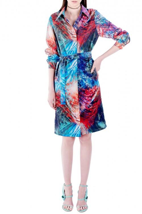 Rochie-camasa colorata cu print abstract
