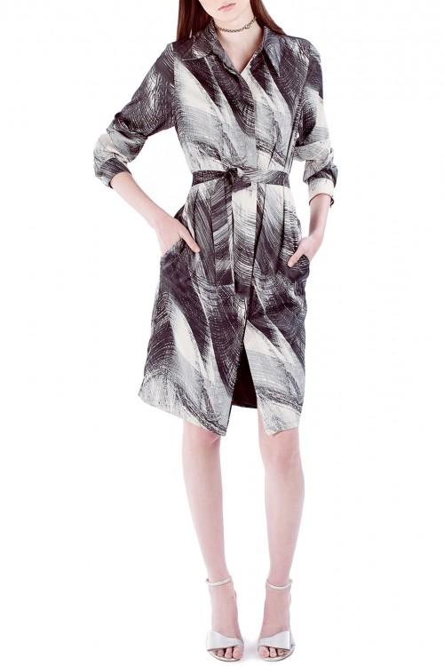 Rochie-camasa cu print abstract alb si negru