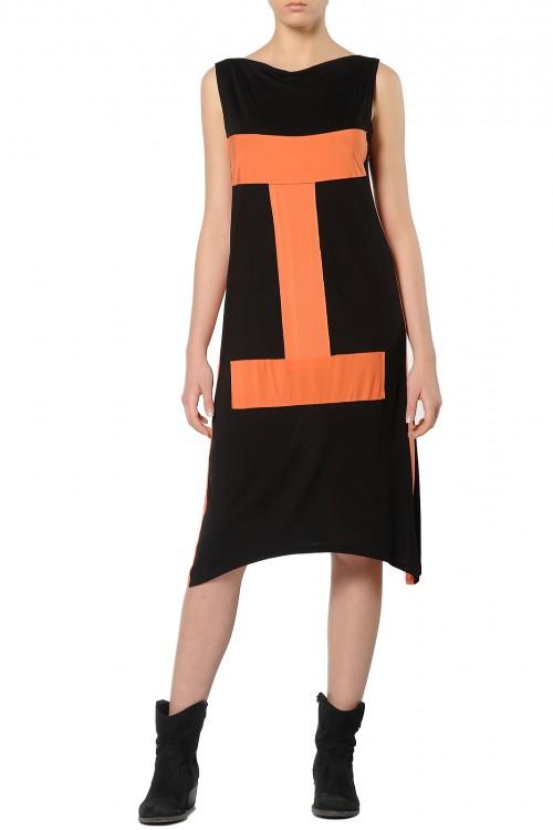 Rochie midi tricot negru cu aplicatie portocalie