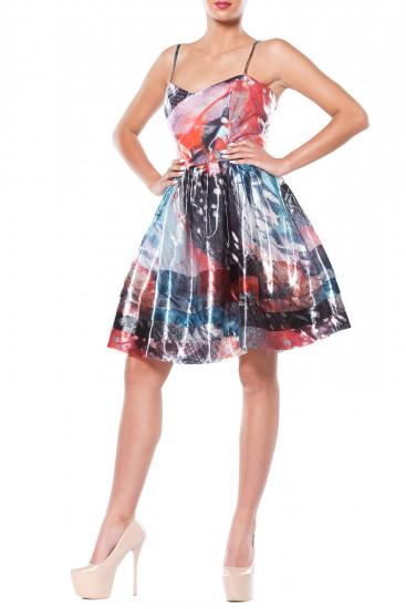 Rochie midi din organza multicolora