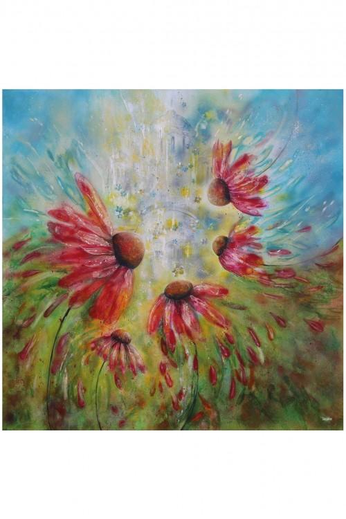 Esarfa din matase Trupul absurd al lui sunt si florile lui