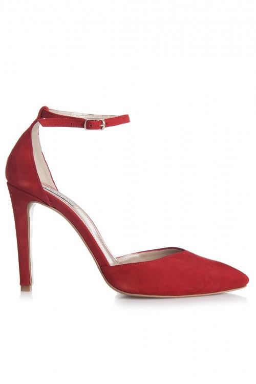 Pantofi cu toc si bareta piele intoarsa rosie