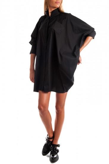 Rochie camasa bumbac negru cu maneci fluture