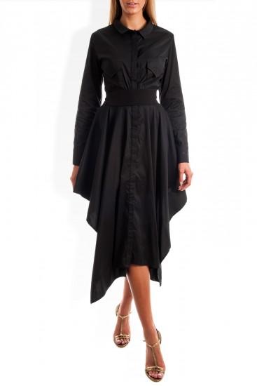 Rochie camasa neagra cu colturi si laterale scurte