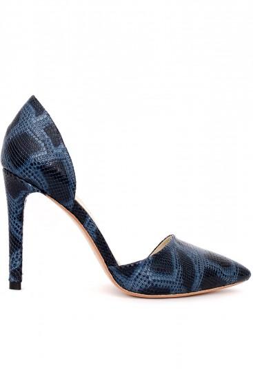 Pantofi cu toc piele albastra print sarpe