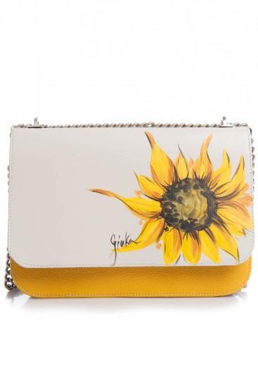 Geanta de umar piele alba si galbena Sunflower
