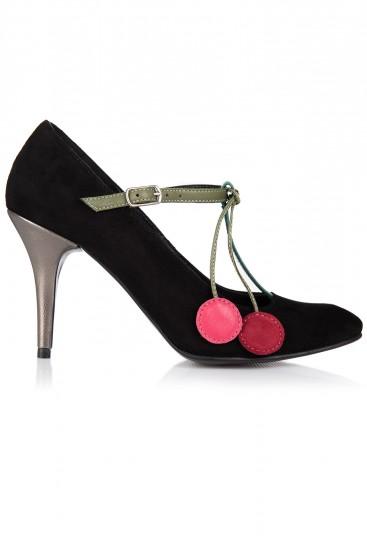 Pantofi cu toc piele intoarsa neagra si accesoriu cirese