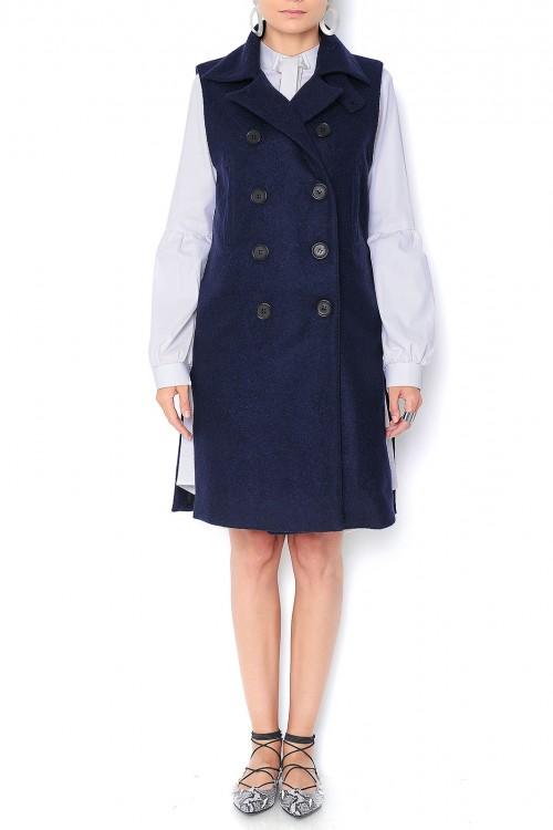 Vesta bleumarin din casmir si lana