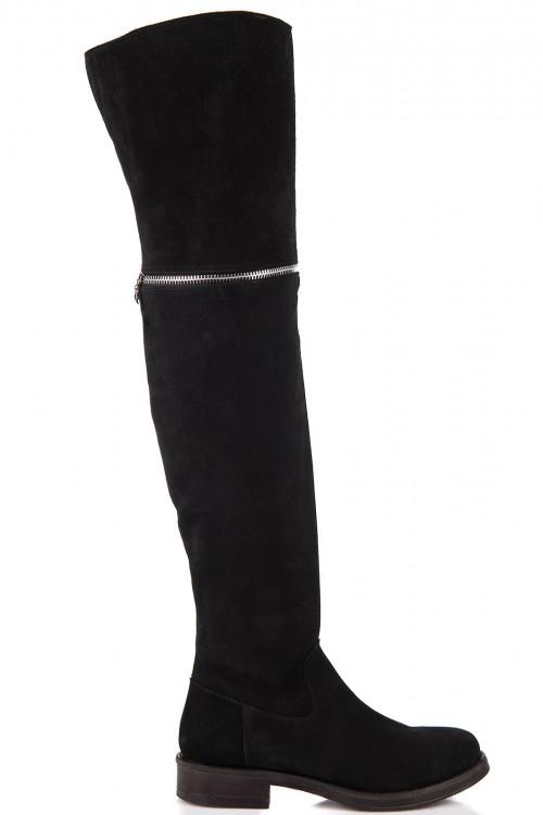 Cizme negre peste genunchi cu talpa joasa