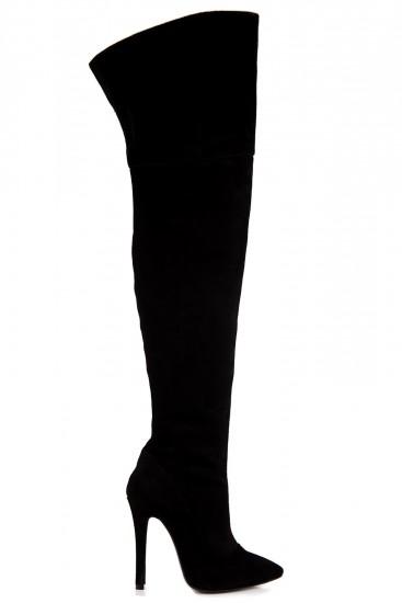 Cizme negre peste genunchi cu toc cui