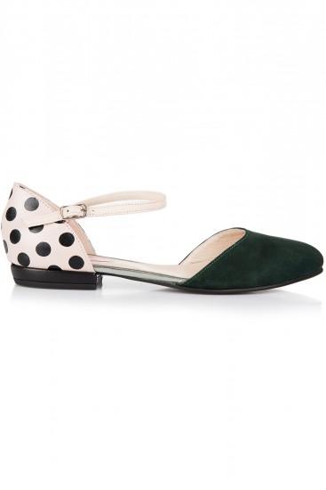 Pantofi cu buline si piele intoarsa verde