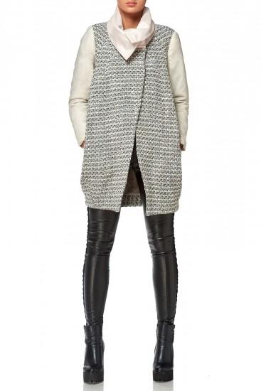 Palton din lana cu maneci si guler fas