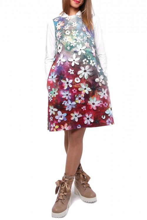 Rochie bumbac satinat Curcubeu de flori