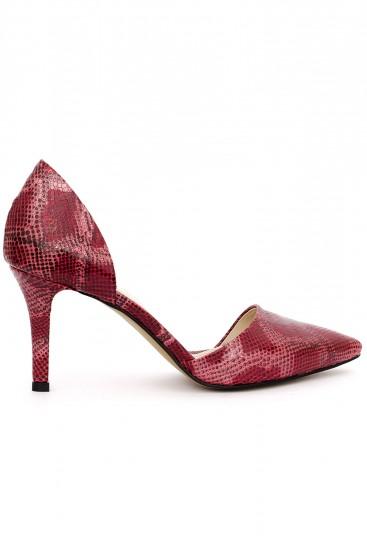Pantofi rosii cu toc din piele tip sarpe