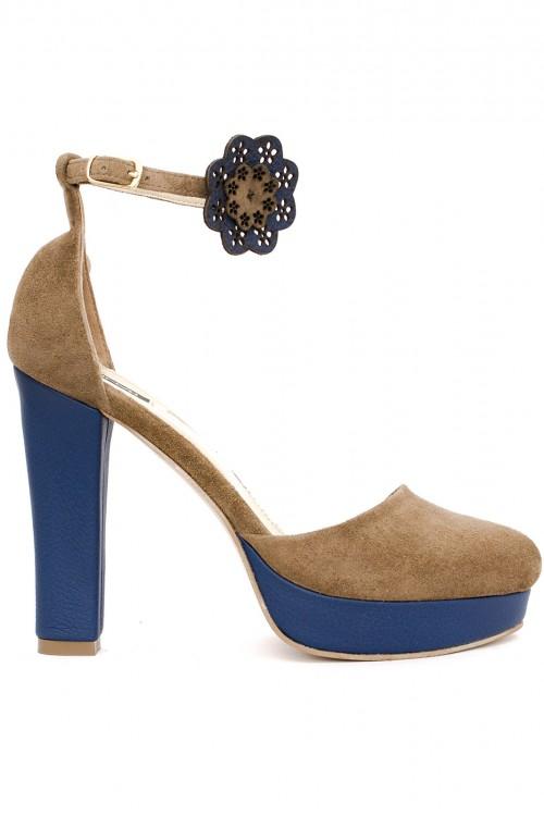 Pantofi cu platforma piele intoarsa capuccino si albastra