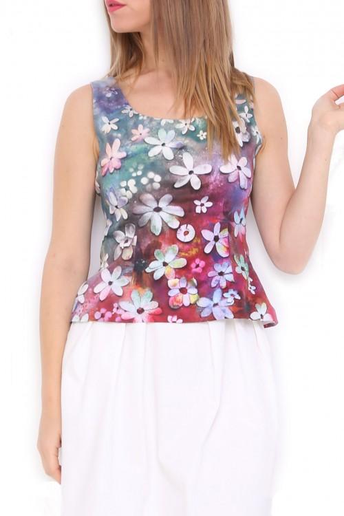 Bluza bumbac satinat Curcubeu de flori