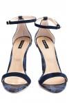 Sandale cu toc piele sarpe albastra Elegant Day