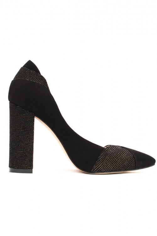 Pantofi cu toc gros piele velur neagra Smart Office Day