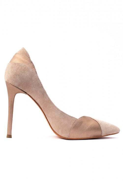 Pantofi nude cu toc Beige Elegance