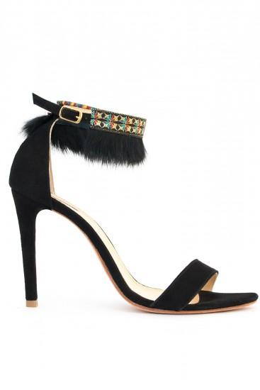 Sandale negre cu pene Joyful Night