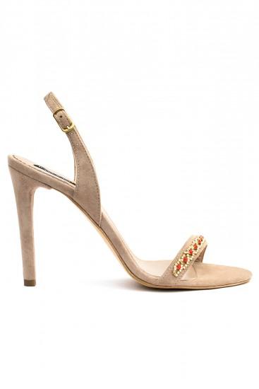 Sandale cu toc piele nude Crystal