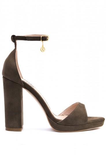 Sandale cu platforma piele intoarsa kaki Zen