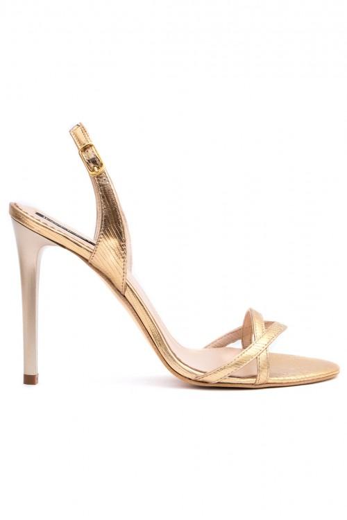 Sandale aurii cu toc subtire Simply Goldie 2