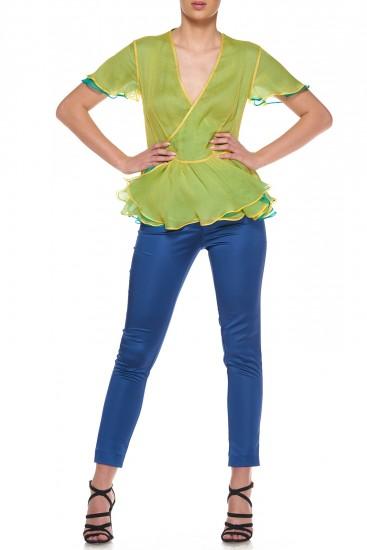 Pantaloni albastri din satin elastic Princess