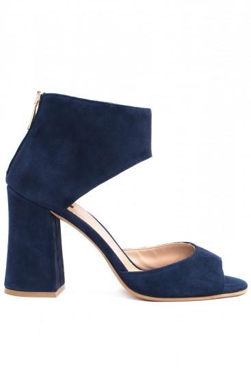 Sandale albastre cu toc gros
