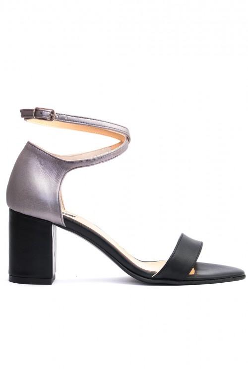 Sandale cu toc gros piele neagra si argintie