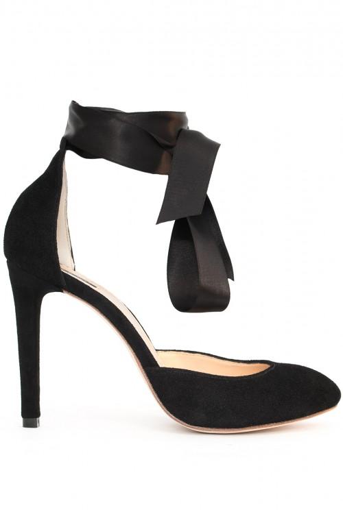 Pantofi negri cu funda Ribbon Mania