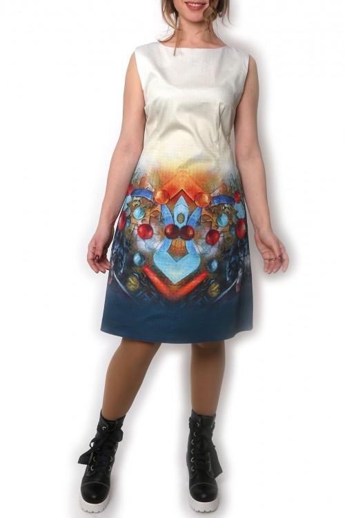 Rochie bumbac satinat cu print Sphere movement