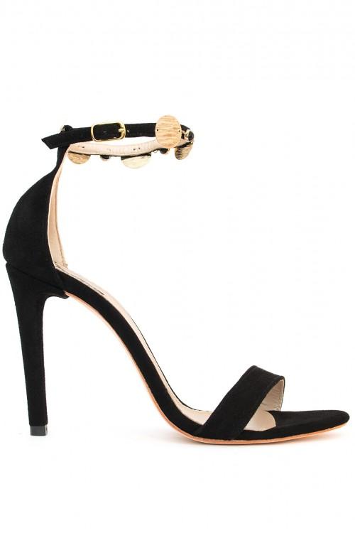Sandale negre cu banuti aurii Black Gold