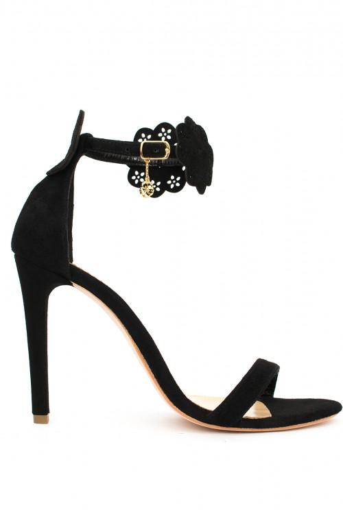 Sandale negre cu flori Naivel Beauty