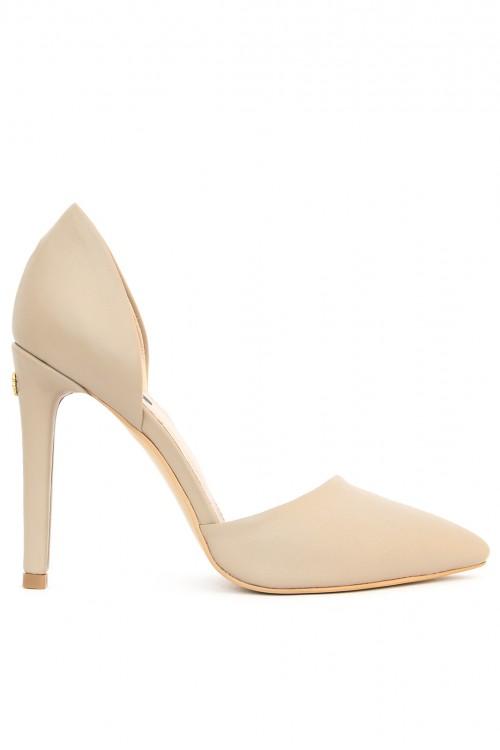 Pantofi cu toc piele nude Simple Nude