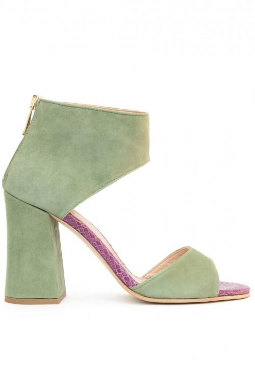 Sandale toc gros piele verde Green Allure