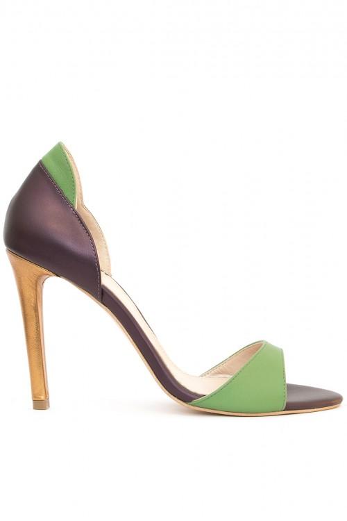 Sandale colorate cu toc subtire Heartbreaker