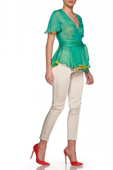 Bluza din voal verde si galben Dumas