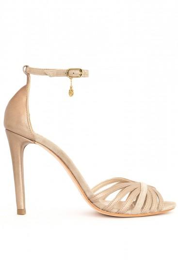Sandale aurii cu barete subtiri Golden Nicole