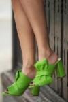 Saboti toc gros piele verde