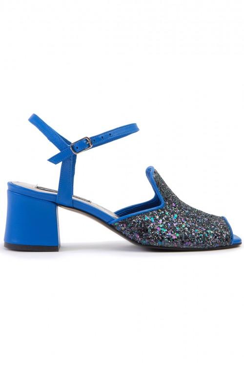 Sandale cu toc gros piele albastra si glitter