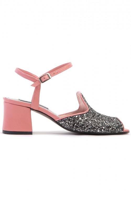 Sandale cu toc gros piele roz si glitter