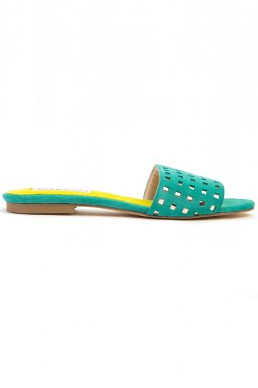 Papuci piele verde cu decupaje