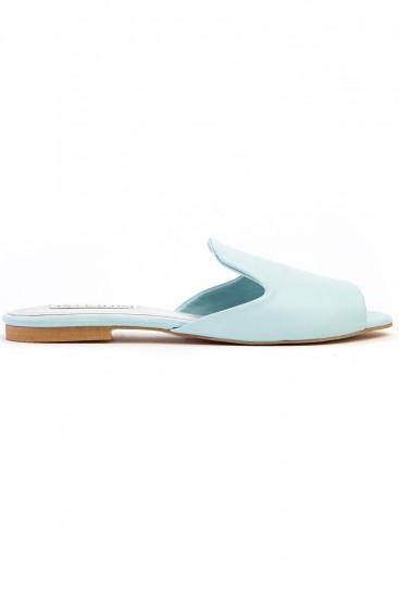 Papuci piele bleu