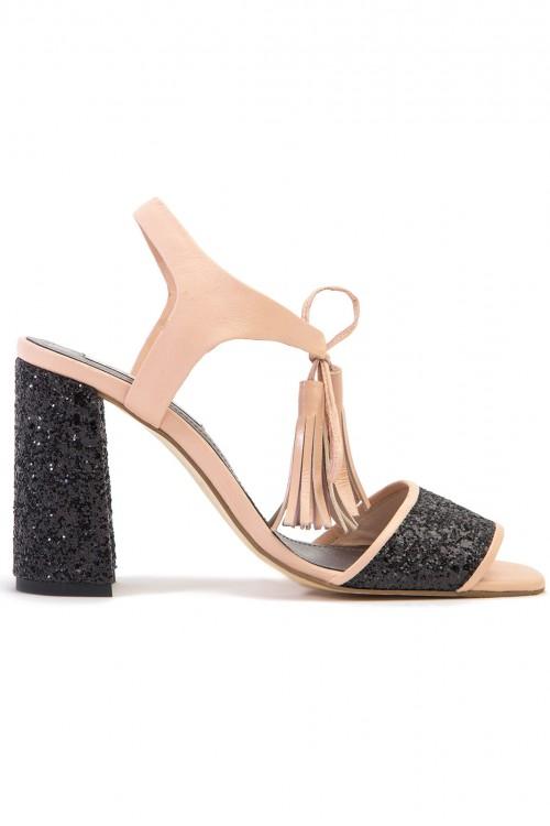 Sandale toc gros piele nude si glitter