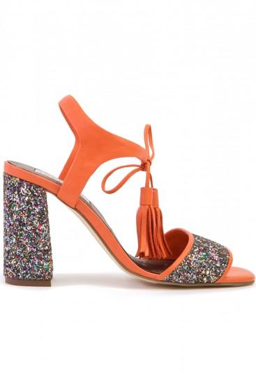 Sandale toc gros piele portocalie si glitter