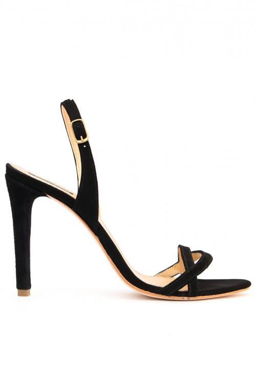 Sandale toc subtire piele intoarsa neagra
