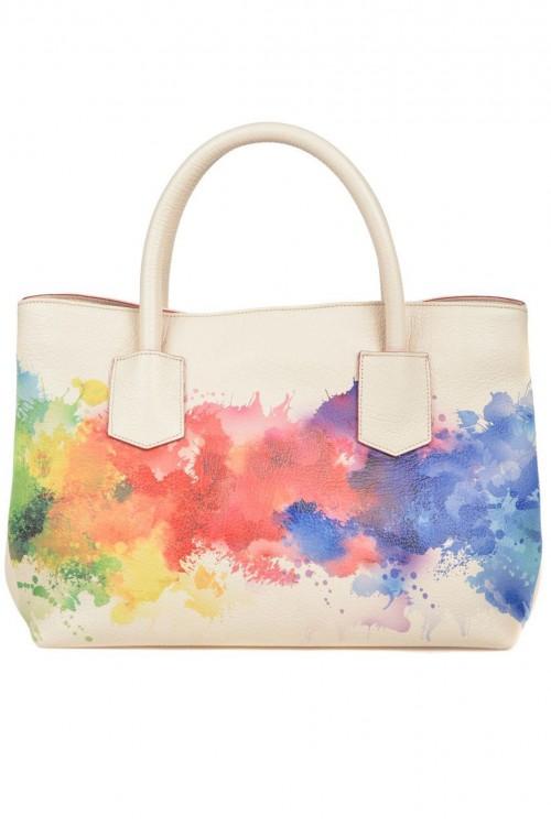 Geanta piele crem print multicolor Splash